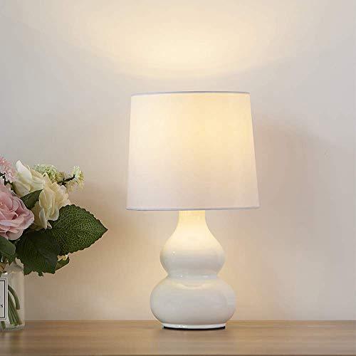 Mondaufie Modern Design ceramics Base White Fabric Shade Table Lamp,Bedside Table Desk Lamps for Bedroom,Living room,Office room,Office