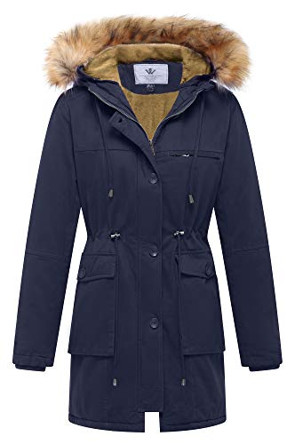 WenVen Women's Winter Warm Double Layer Jacket Fleece Military Coat(Navy,M) (Pea Coat Military Women)