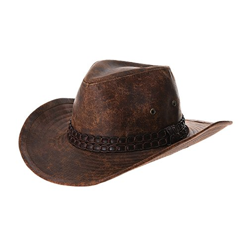 (WITHMOONS Indiana Jones Hat Weathered Faux Leather Outback Hat GN8749 (Brown))