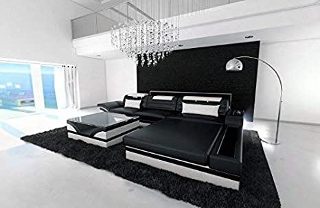 Sofa Dreams Sofa De Cuero Parma En Forma De L Blanco Y Negro Amazon
