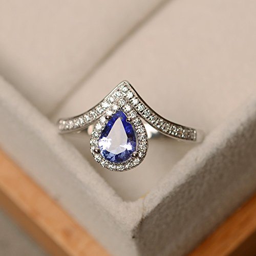 natural tanzanite rings for women sterling silver pear shape - Silver Tanzanite Rings