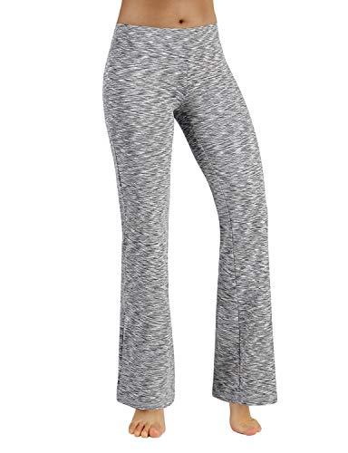 ODODOS Power Flex Boot-Cut Yoga Pants Tummy Control Workout Non See-Through Bootleg Yoga Pants,SpaceDyeGray,Medium