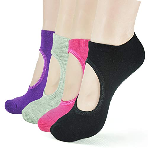 Barre Socks for Women- Elutong Pilates Socks Grips Yoga Grippers Ballet Non Slip Anti Skid Socks (Black+Grey+Dark Purple+Rose Red)