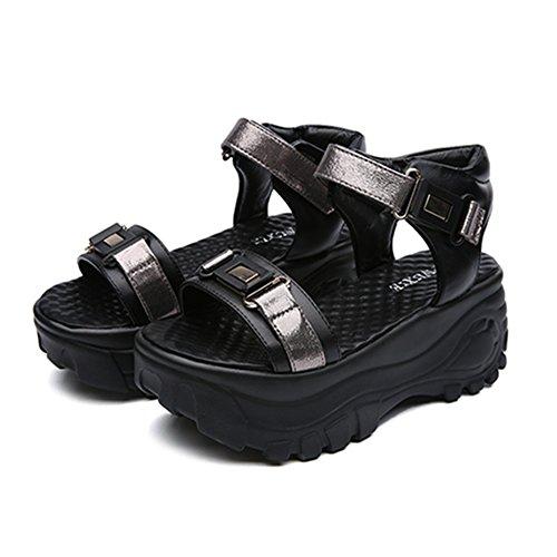 厚底サンダル レディース 歩きやすい 厚底靴 スポーツサンダル マジックテープ ベロクロ カジュアル おしゃれ 夏 通気 軽量 日常 美脚 身長up 約6.5cmヒール ホワイト ブラック