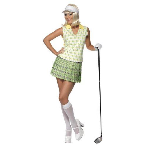 Gone Costume Golfing (Smiffy's Women's Gone Golfing Costume with Visor Tank Top Pleated Skirt and 1 Glove, Multi,)