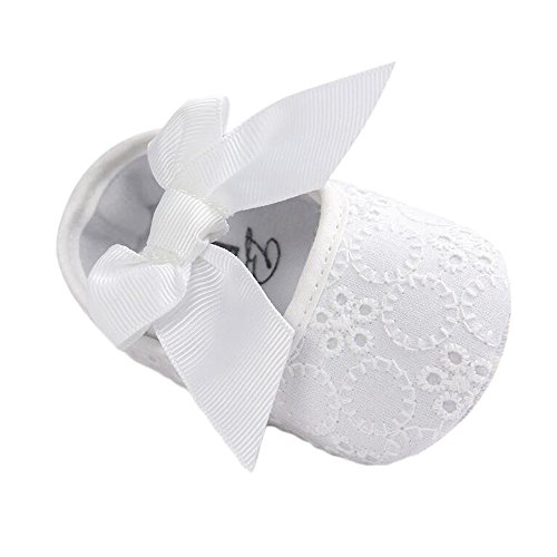 Baby Girls Princess Bowknot Soft Sole Cloth Crib Shoes Sneaker White, 6-12 Months]()