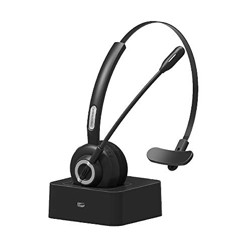 Headset Headphone Earphone Microphone - Trucker Bluetooth Headset RAOPINGX Wireless Headset with Microphone Over The Head Headphones with Noise Cancelling Sound On Ear Car Earphones Office Earpiece for Cellphone Call Center Bluetooth V5.0