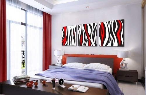 Espritte Art-Huge Red and Black and White Abstract Art Picture Painting on Canvas Print Stretched and Framed, Modern Home Decorations Wall Art set of 3 Each is 50*50cm ()