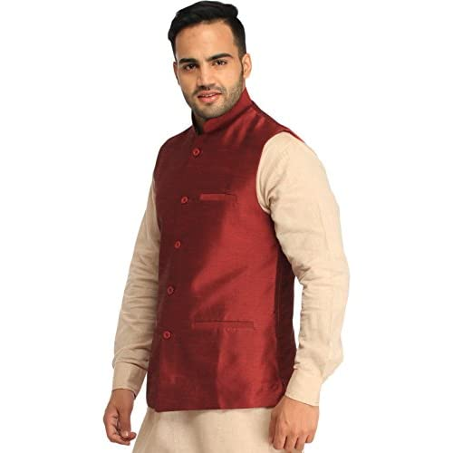 41v3oF8mpWL. SS500  - Exotic India Men's Silk Waistcoat