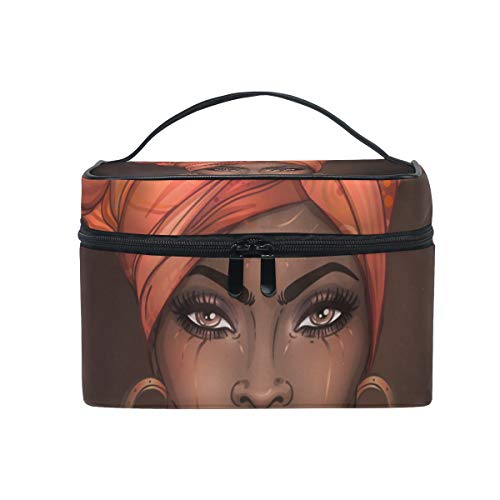 Cosmetic Bag African American Pretty Girl Travel Makeup Train Cases Portable Artist Storage Bag Organizer for Womens (African Women)