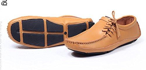 Aisun Mens Trendiga Klänning Läder Loafers Gul