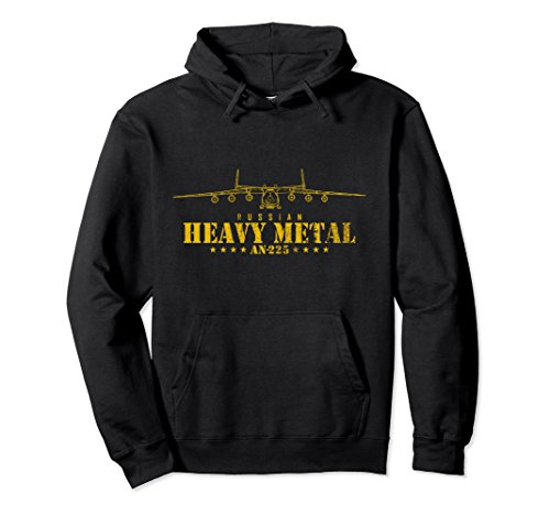 Russian Black Metal (Unisex Airplane Transport Pilot Hoodie - AN225 Russian Heavy Metal Large Black)
