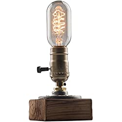 OYGROUP Vintage Weathered Wood Table Lamp,Wooden Base Retro Industrial Steampunk Iron Pipe Desk Light for Bedside,Bedroom Living,Dining Room,Cafe Bar,Studio,Hallway,House Decor,E26 Dimmable Lamps LED