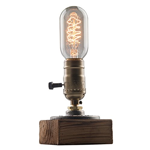 (OYGROUP Vintage Weathered Wood Table Lamp,Wooden Base Retro Industrial Steampunk Iron Pipe Desk Light for Bedside,Bedroom Living,Dining Room,Cafe Bar,Studio,Hallway,House Decor,E26 Dimmable Lamps LED)