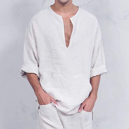 Vrac En Bhydry Blouse Shirt Pull Solide Coton Thaïlandais Blanc Top Longues Lin Manches Caftan 1ApcUZAn