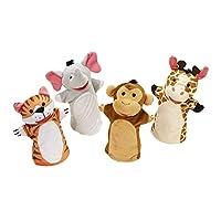 """Melissa & Doug Zoo Friends Marionetas de mano, Conjuntos de marionetas, Elefante, Jirafa, Tigre y Mono, Material de felpa suave, Juego de 4, 14 """"de alto x 8.5"""" de ancho x 2 """"de largo"""