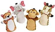 Melissa & Doug Zoo Friends Hand Puppets (Set of 4) - Frustration Free Packaging - Elephant, Giraffe, Tiger
