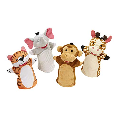 "Melissa & Doug Zoo Friends Hand Puppets, Puppet Sets, Elephant, Giraffe, Tiger, & Monkey, Soft Plush Material, Set of 4, 14"" H X 8.5"" W X 2"" L from Melissa & Doug"