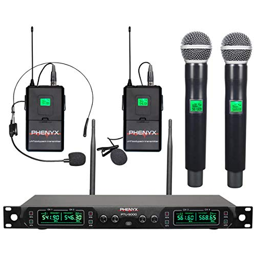 Wireless Microphone System, Phenyx Pro 4-Channel UHF Cordless Mic Set With Handheld/Lapel/Headset/Bodypack, Rugged Metal Build, Fixed Frequency, Long Range, Ideal for Church,Karaoke,Events(PTU-5000B)