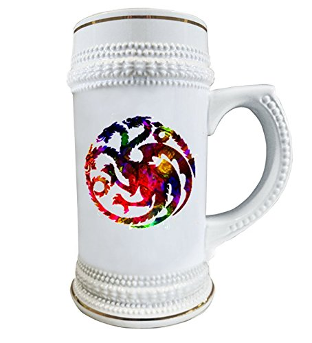 Game of Thrones Beer Stein | Beer Mug | 22oz Ceramic | Personilized House targaryen sigil Cup (Personilized Gifts)