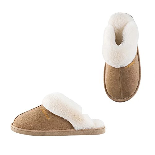 Womens Slipper Memory Foam Fluffy Slip-On House Suede Fur Lined/Anti-Skid Sole, Indoor & Outdoor(US8.5-9, Light Brown)