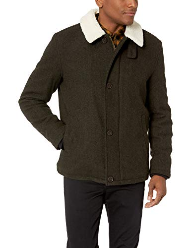 Cole Haan Signature Men's Tumbled Wool Short Jacket with Faux Sherpa Collar, Olive, - Dark Cole Haan Green