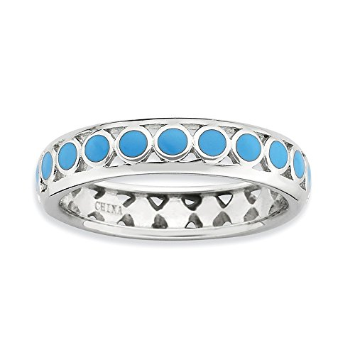 Dot Enamel Band - Size 10 - Blue Dot Enamel Band Sterling Silver Stackable Expressions Ring