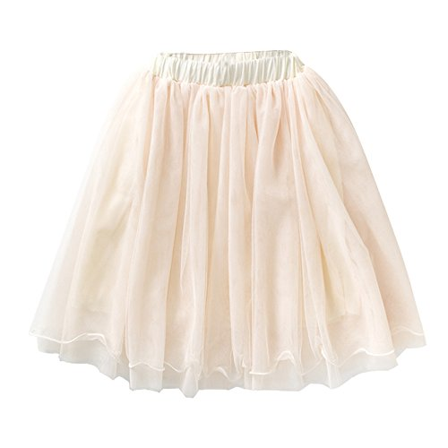 VIYOO Girls Casual 4-Layer Tulle Tutu Puff Mid-Calf Long Skirt Age 2-8, Beige Gray -