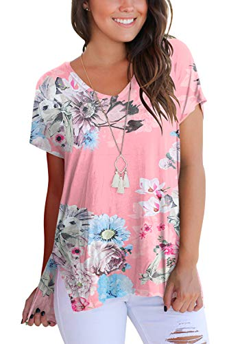 FAVALIVE Women T Shirts V Neck Pasley Printed Tunic Tops Plus Size Pink 2XL