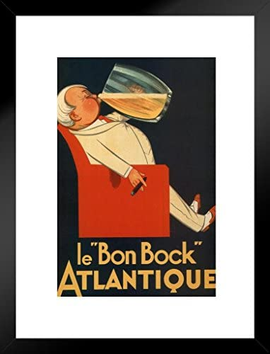 Poster Foundry Le Bon Bock Atlantique Vintage French Beer Liquor Mug Advertisement Matted Framed Wall Art Print 20×26