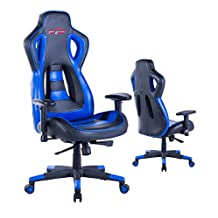 Top Gamer Ergonomic Gaming Chair PC Computer Chairs for Gaming (Blue/Black,6)