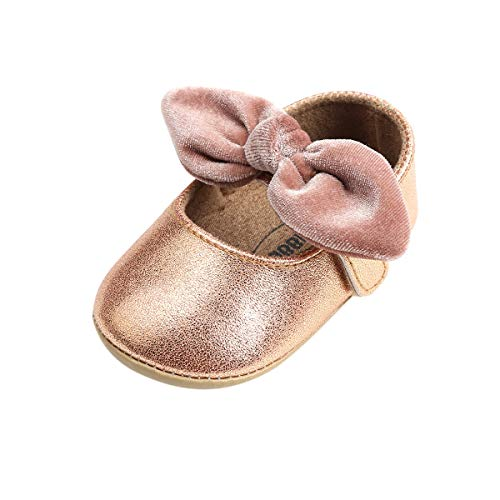 BENHERO Infant Baby Girls Shoes Mary Jane Flats Bownot Soft Leather No-Slip Toddler First Walker Princess Dress Shoes