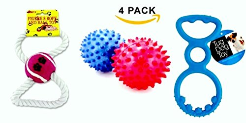 ZenBy Dog Pet Play Toys (4 Toys) Spike Balls, Figure 8 Puller Rope, Tug Toy | For Small And Medium Dogs & Puppies - Play Time for Your ()