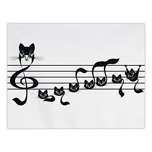iPrint Polyester Rectangular Tablecloth,Music Decor,Notes Kittens Kitty Cat Artwork Notation Tune Children Halloween Stylized,Dining Room Kitchen Picnic Table Cloth Cover,for Outdoor Indoor