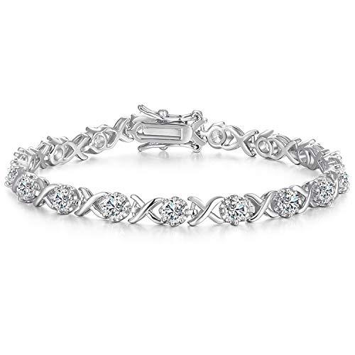 Caperci Sterling Silver Cubic Zirconia XO Tennis Bracelet for Women, 7.25''