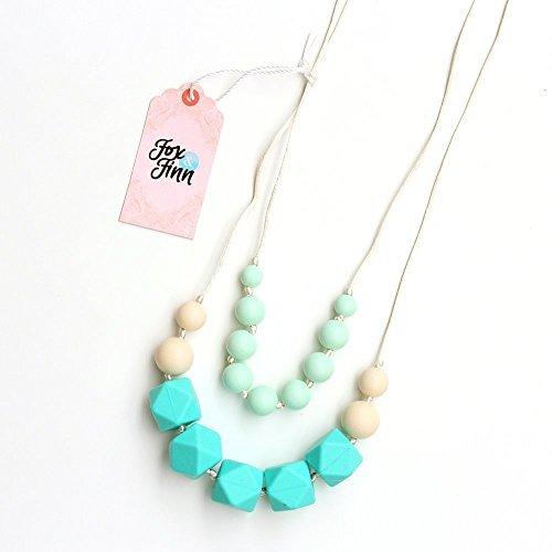 Fox and Finn 'Isabella' Silicone Teething Necklace for Babies | Safety Knotted Silk Rope | Does Not Pull Hair Out | 14 Inch Drop (turquoise + mint + latte) (Feed Neck Rubber)
