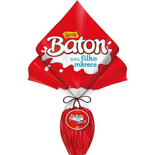 Garoto - Baton - Milk Chocolate Easter Egg Fillied w/ Milk chocolate - 6.5oz | Huevo de Chocolate c/ Leche Relleno c/ Chocolate c/ Leche (PACK OF 01) | Ovo de Pascoa Chocolate ao Leite - 186g ()