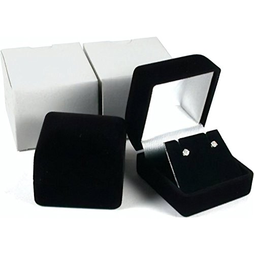 (2 Black Flocked Earring Gift Boxes Jewelry)