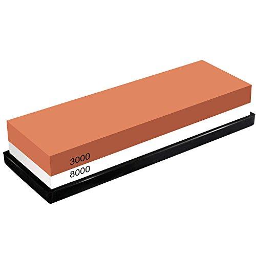 - TOOPONE Knife Sharpener Knife Sharpening Stone Kit Japanese Whetstone Kitchen 2 Side 3000/8000 Grit with Non- Slip Rubber Base (3000/8000 Grit)
