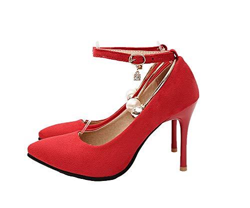 Cerrada Aalardom Tacón Pu Puntera De Rojo Alto Con tsmdh004346 Zapatos Tacón Mujeres Hebilla tqrFUxOt