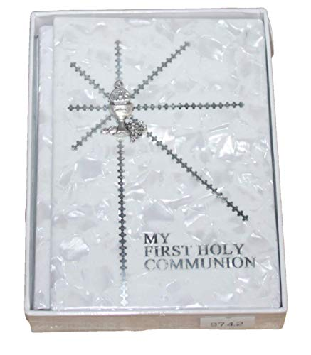 First Communion Silver English Missal/Prayer Book with Chalice and Mother of Pearl Like Hard Cover