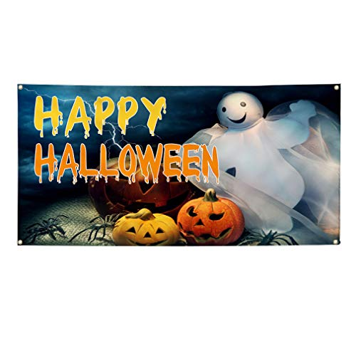 Vinyl Banner Sign Happy Halloween Scary Pumpkin Ghost Marketing Advertising Orange - 32inx80in (Multiple Sizes Available), 6 Grommets, Set of 5 -