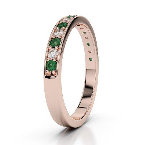 Or Rose 18carats 0,30CT G-H/VS Certifié Coupe ronde Émeraude et diamants Agdr-1083