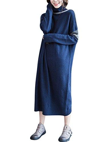 Youlee Mujer Cuello alto Manga larga rayada Suéter Vestir Azul profundo