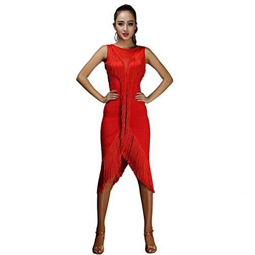 (ShallWe Women's Performance Cotton Chinlon Tassel Splicing Sleeveless Natural Latin Dance Dresses Red)