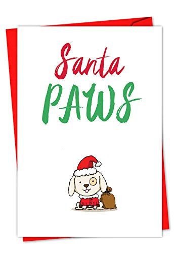 C5550AXSG-B12 Box Set of 12 'It Was The Pun Before Christmas - Dog' Christmas Greeting Card Featuring Images of Doodled Animal Friends with Punny Sayings; With Envelopes Best Dog Christmas Cards