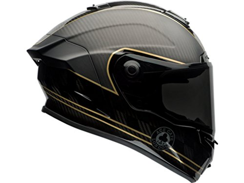 Race Star (Bell Race Star Flex Ace Cafe Speed Check Matte Black Gold Motorcycle Helmet Size Small (D.O.T. Cerified))
