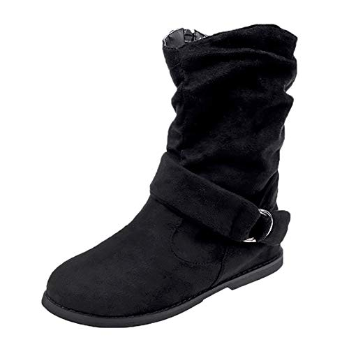 Hunzed Women's mid-boots zipper shoes Women Flat Booties Soft Shoes Ankle Boots (Black, 8.5) from Leopard print Shoes Zipper Boot Ankle Short Snow Booties Women Outdoor Vintage Leisure sneakers
