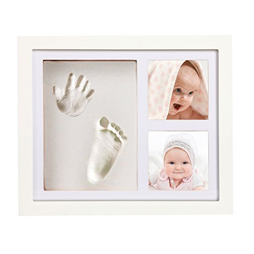 Happy Baby Deluxe Handprint & Footprint Kit Photo Frame White for Adorable Boys, Girls and Newborn Babies, Personalized Gifts, Shower Registry, Keepsake Box Decorations for Room Wall Decor