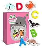 alphabets for kids - Curious Columbus Animal Magnets For Kids. Includes Alphabet Letters. Set of 52 Pieces. Foam Educational Magnetic Toy Objects For Word Recognition. 26 Picture Fridge Magnets and 26 ABC Letters From A-Z